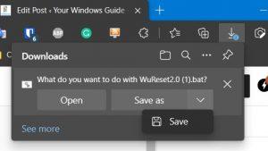 Reset Windows update