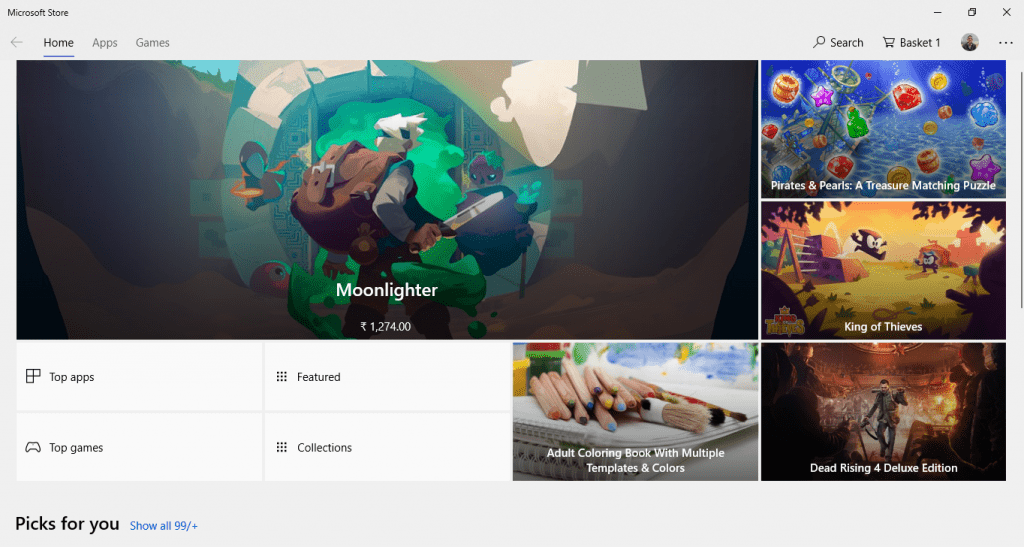 Windows Store Home Page