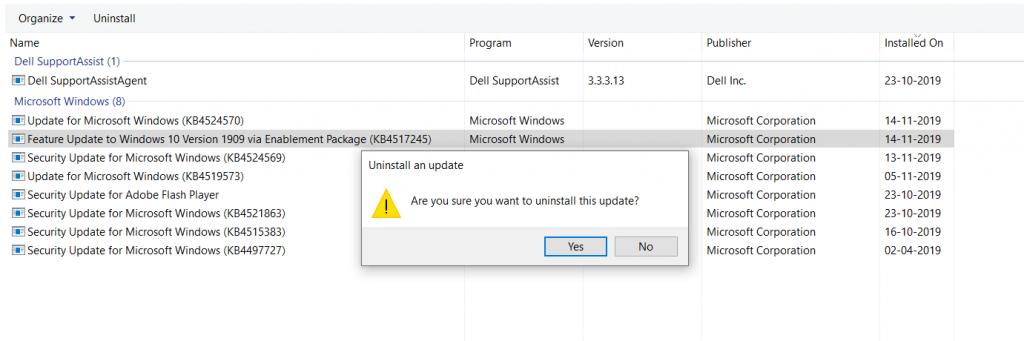 Uninstall Windows 10 1909