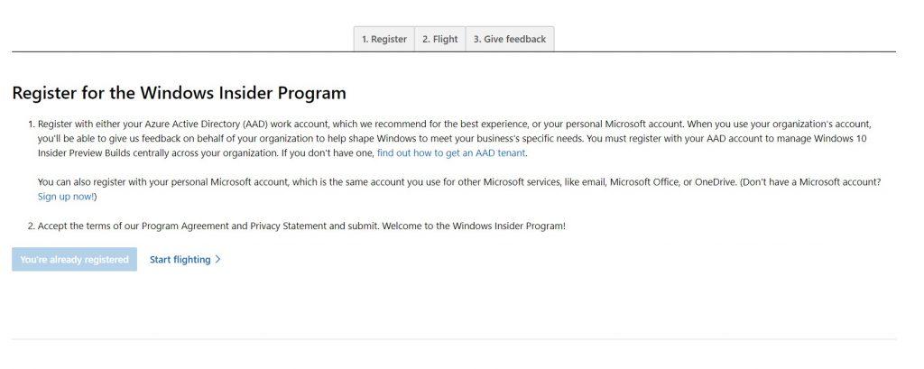 Windows Insider Program sign up