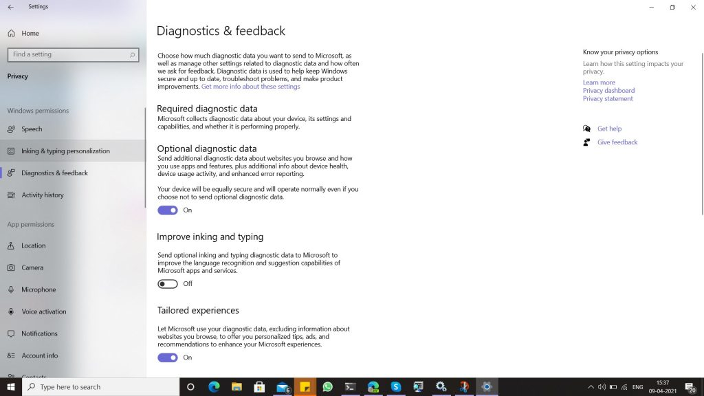Required diagnostic data for WIP